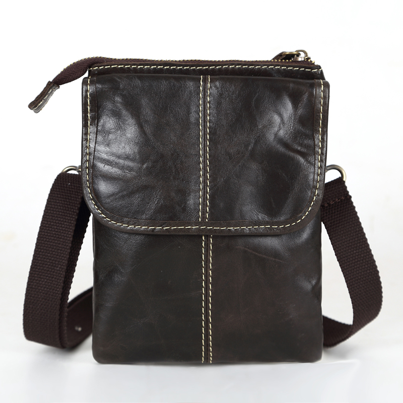 Promotion Vintage Real Genuine Leather Small Men Messenger Bags Mini Mobile Phone Bag Cigarette Bag Men