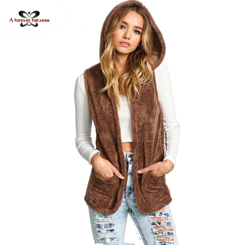 Women Teddy Hooded Furry Vest Brown Sleeveless With Hat Waistcoat Winter And Autumn 2016 Hot Style SKU-571(China (Mainland))