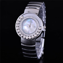 2015 Fashion Gold Famous Brand Watches Women Steel Luxury Watch With Logo Rhinestone Dress Watches Diamond Lady Watches