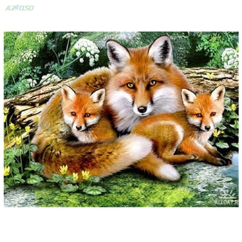 3d diamond embroidery Fox family needlework diamond mosaic pictures of rhinestones hobbies and crafts material for handmade y942