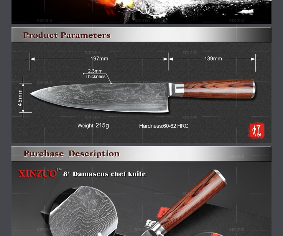 "Buy HOT 8"" inches 73 layers Japan VG-10 Damascus steel kitchen knife High quality forged chef knife Color wood handle free shipping cheap"