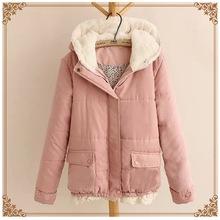 2015 women down coat  fresh sweet lace hem stitching hooded cotton jacket  winter jacket Japanese Mori Girl