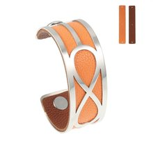 Yoiumit Infinity Arm Bracelets Bangles Agrent Stainless Steel Jewelry Femme Manchette Cuff Leather Reversible 10 Color Bangles(China)