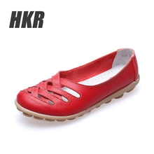 HKR 2016 spring summer women ballet flats genuine leather sandals shoes women slip on flat sandals loafers female shoes 928(China (Mainland))