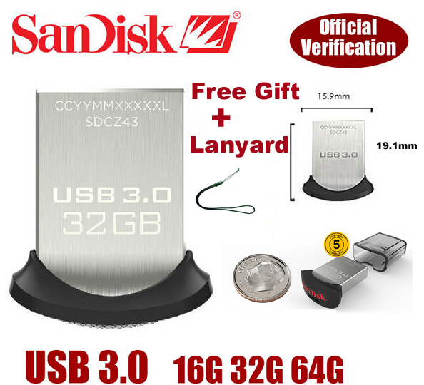 New Arrival USB 3.0 Flash drive 100% Original Genuine Sandisk Cruzer Fit CZ43 32gb 16gb smart mini Usb Free shipping(China (Mainland))