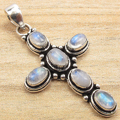 Silver Plated Blue Fire RAINBOW MOONSTONE 6 Gems Retro Fashion Cross Pendant(China (Mainland))