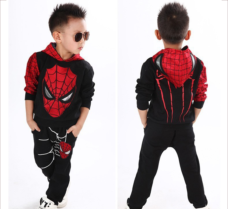 2015 NEW retail spiderman kids clothing sets children fashion cartoon summer shirt + pants boys tees pants suit<br><br>Aliexpress