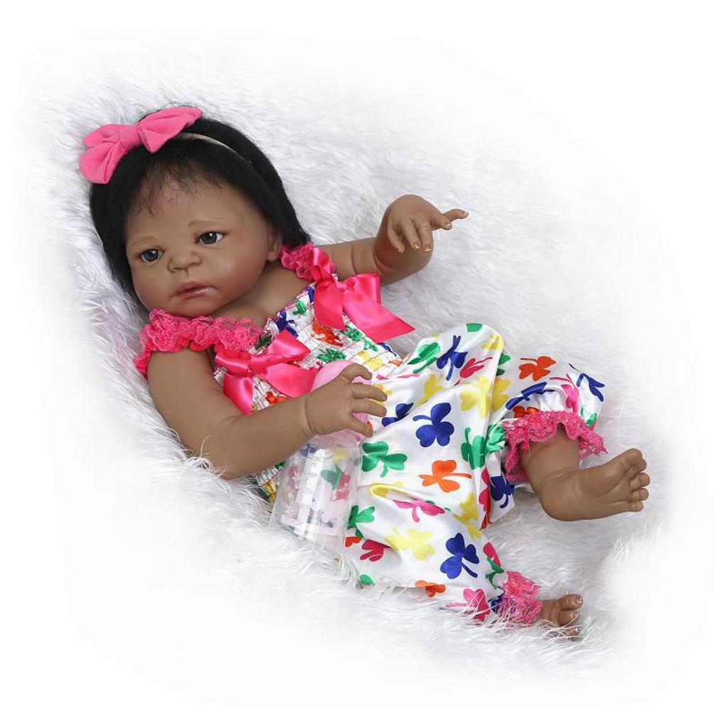 Kids Birthday Christmas Gift - Full Silicone 22inch Reborn Baby Girl Doll African American Doll - Black Skin Tone