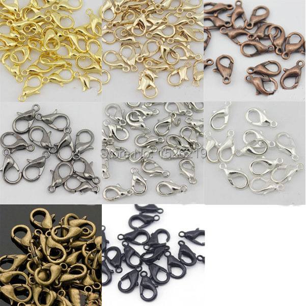 100pcs/lot 12*6mm Gold/Rhodium/Black/Silver Lobster Clasps Claw Clasp Jewelry Findings F112A(China (Mainland))