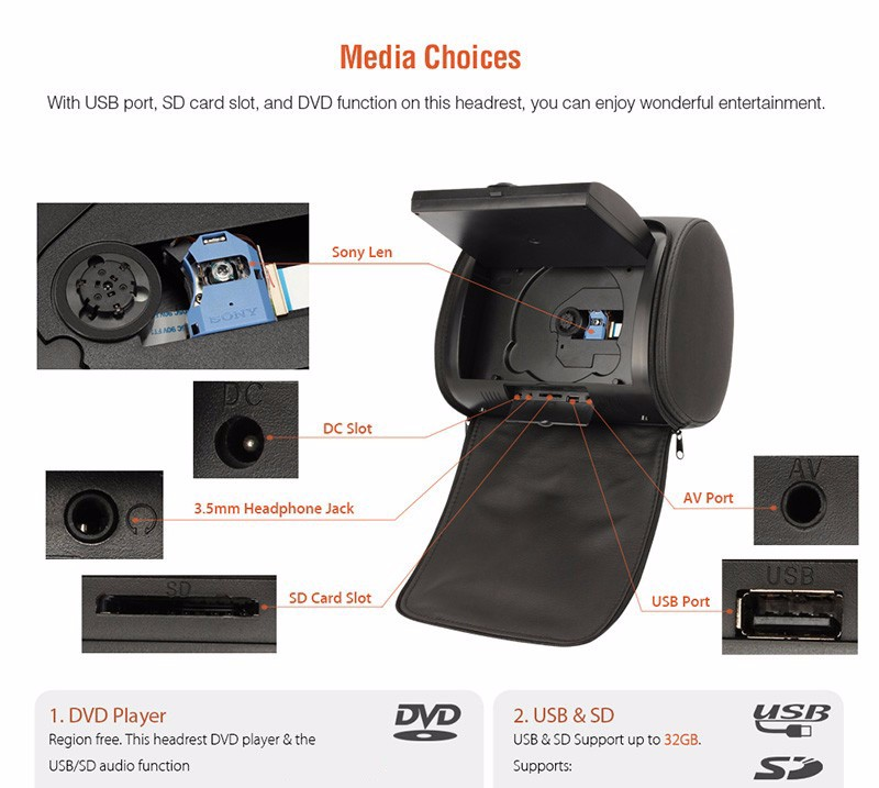 "9"" LCD Screen Dual DVD Player built-in IR FM transmitter Headrest Monitor Entertainment System with 2 Wireless IR Headphones"