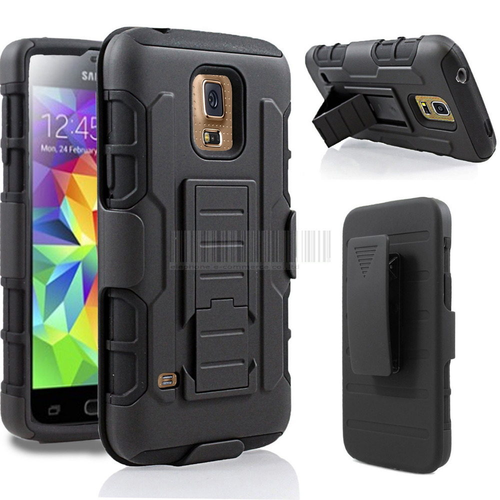 Shockproof Armor Case Cover For Samsung Galaxy S5 I9600/G900/SM-900 Heavy Duty Hybrid Impact Hard Case Cover Holster Belt Clip(China (Mainland))