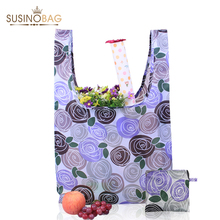 SUSINOBAGS Rose Printing Foldable Reusable Shopping Bags Promotional Bags EcoTote Bag shopping bag(China (Mainland))