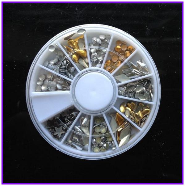 1X Wheel Nail Art Rhinestones Decoration 3D 12 Design Mix Color Glitter Round Star Diamond Gems Nail Studs AA004(China (Mainland))