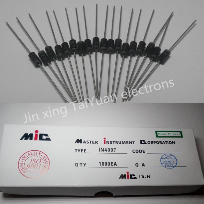 Pengiriman gratis 100PCS 1N4007 4007 1A 1000V DO 41 Rectifier Diode Professional terminal