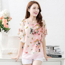 Women Blouses Butterfly Chiffon Blouse Blusa Feminina Tops O-Neck Short Sleeve Fashion Chemise Femme Woman Shirts Plus Size 4XL