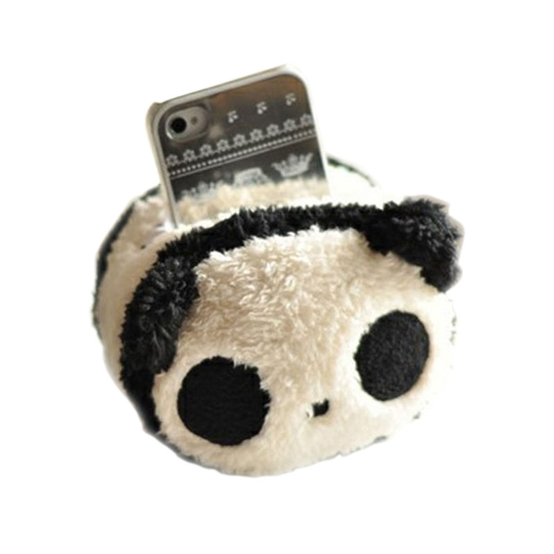 Brand New Free Shipping Cute Square Panda Plush Toys Phone Seat Cell Phone Holder(China (Mainland))