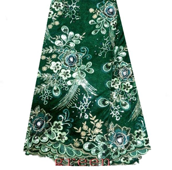 KP37-2! green!embroidery Velvet Lace fabric for dress with sequins!nice African French Lace Fabric free shipping by DHL!(China (Mainland))