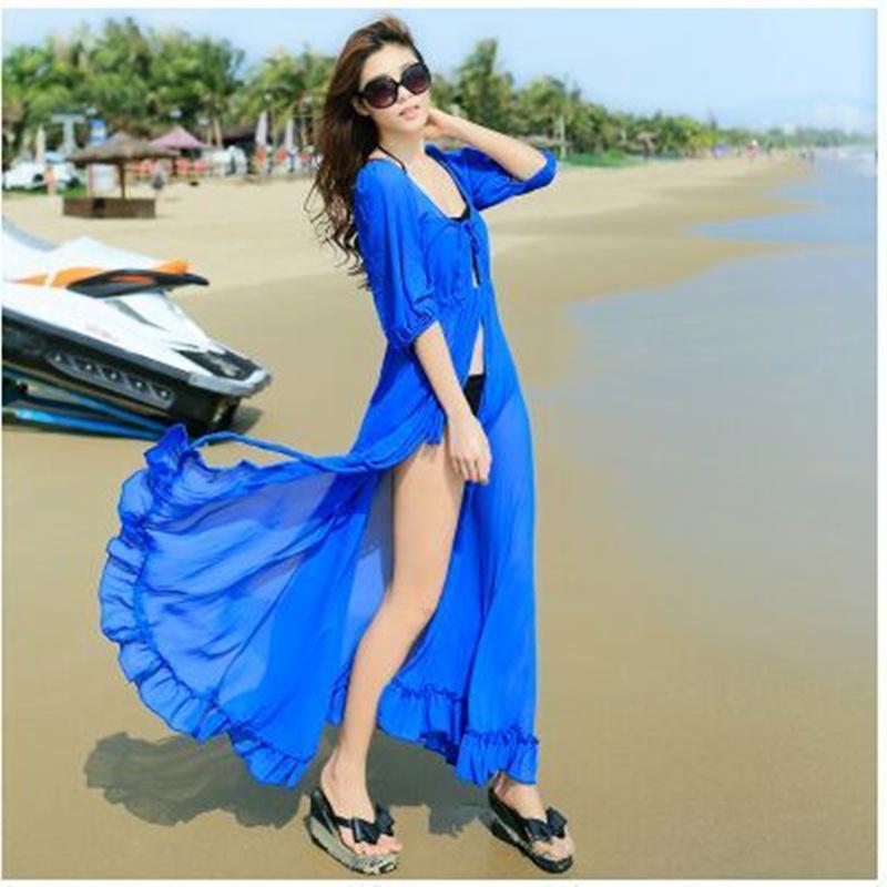 2015 Plus Summer Bikini Cover Ups Long Biouse Strapless Maxi Boho see through beach dress Sarong Kaftan Tunic women Beach Dress(China (Mainland))