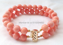 """shitou 008 Beautiful 8"""" 2row 8mm perfect round pink coral bracelet - 14k gold filled clasp(China (Mainland))"""