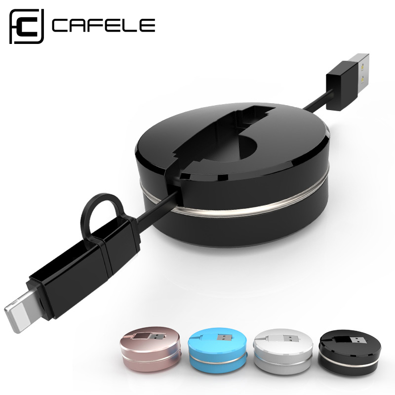 Cafele 2 in 1 Retractable USB Charging Cable Round Box 8 Pin Special for iPhone 5s 6 6s 6Plus Micro USB for Android Smart Phone(China (Mainland))