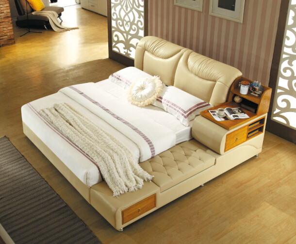 China bedroom furniture Modern bedroom furniture with genuine leather for king size(China (Mainland))
