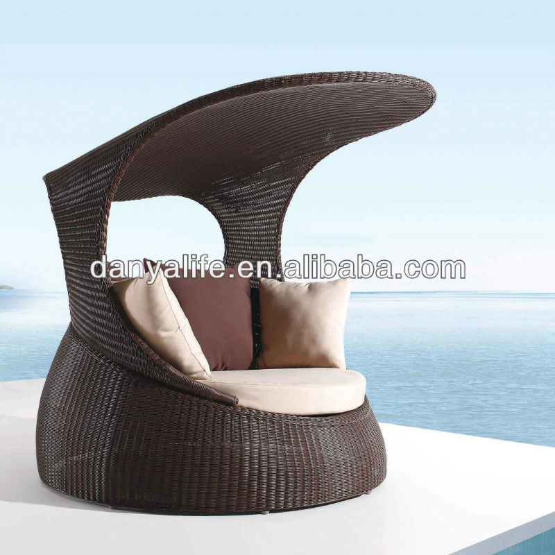DYBED-D120A,Wicker Garden Patio Sun Bed,Rattan Outdoor Leisure Double Daybed,Cane Swimming Pool Lounger Bed,Square Beach Sun Bed(China (Mainland))