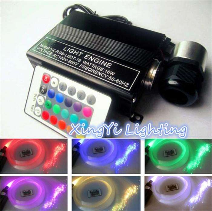 EU plug! 16W RGBW LED Fiber Optic Light Star Ceiling Kit Lights 150pcs 0.75mm 2M Optical Fiber Engine Lighting 24key Remote(China (Mainland))