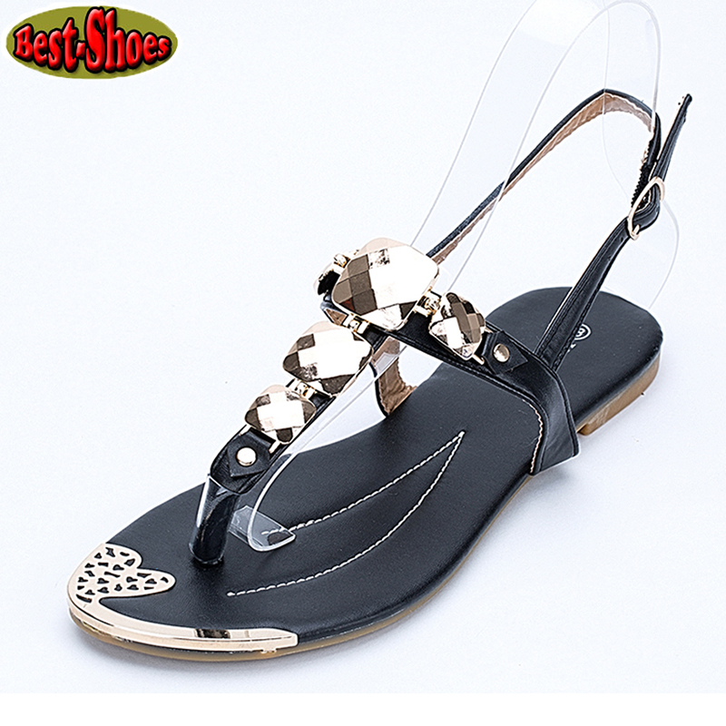Women Buckle Strap Sandals 2016 Women's PU Leather T-Strap Silver Charm Sandals Summer Shoes Woman Flip Flops sandalias mujer