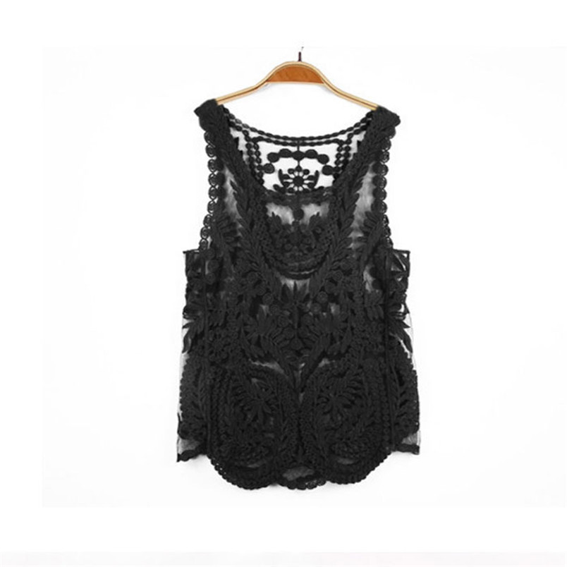 Novel designs Loose Vest Women Court Embroidered Lace Flower Crochet Tanks Top sleeveless knitting Shirt AA(China (Mainland))