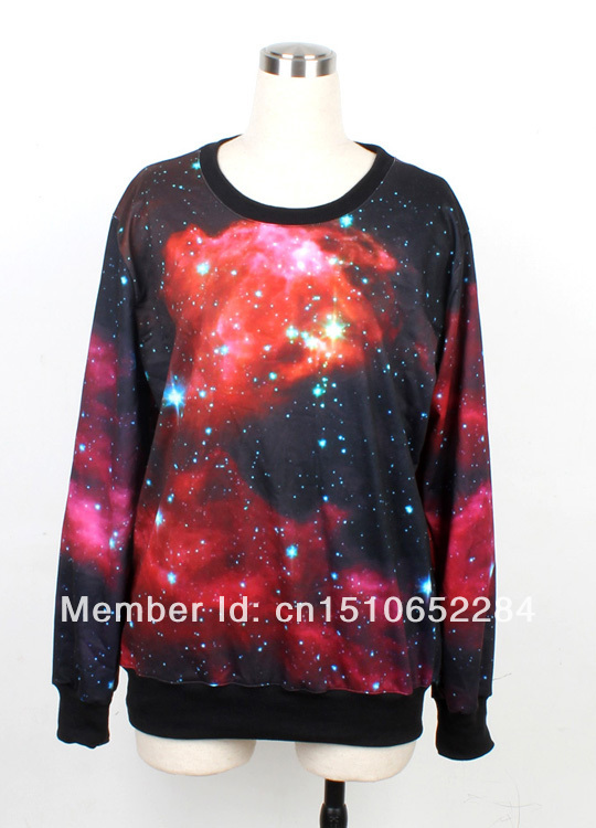 brand new red multi colored galaxy serious sweatershit, do dropship shipping worldwide P30XWY1003(China (Mainland))