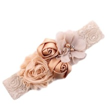 Buy 2017 newborn headband rose hair band Chiffon flower lace elastic Rhinestone headbands children girls hair accessories 18colors for $1.01 in AliExpress store