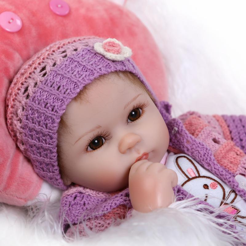 42CM Silicone reborn babies dolls for girls toys lifelike newborn baby bonecas with pink clothes pillow<br><br>Aliexpress