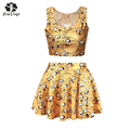 New 2016 Korean Style Cute Cartoon Pattern Ball Gown Women Suits With Skirts Set Pretty Womens