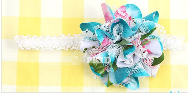 Hot sale chiffon flower headband hair band headwrap baby girl hair accessories 10pcs/lot 2colors  640024J