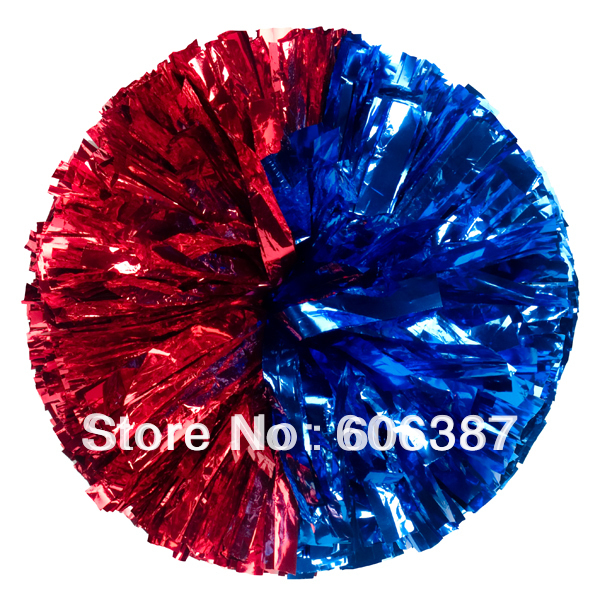 "cheerleading Pom poms 3/4""x 6""~Half & Half metallic royal blue, metallic red new hot sale custom color(China (Mainland))"