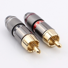 Free shipping High quality gold plating RCA connector RCA male plug support 6mm cable 4pcs/lot(China (Mainland))