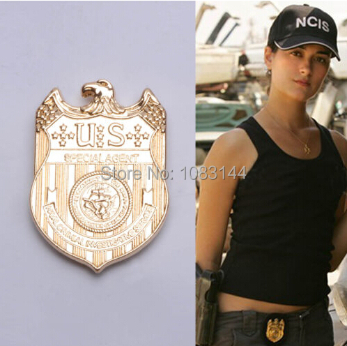 Golden NCIS party cosplay Brooches broach Police Sheriff Deputy Badge girls children kids boys fun 2015 free shipping gift pins(China (Mainland))