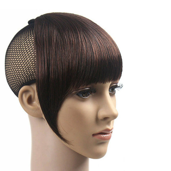 Charming Lady Full Bangs Fringe Clip On Hair Extension Dark Brown(China (Mainland))