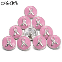 Buy 10pcs/lot Mrs Win Snap Jewelry Pink Ribbon Snap oil painting Metal Breast Cancer Snap Jewelry Fit Snap Bracelet Buttons bangle for $6.05 in AliExpress store