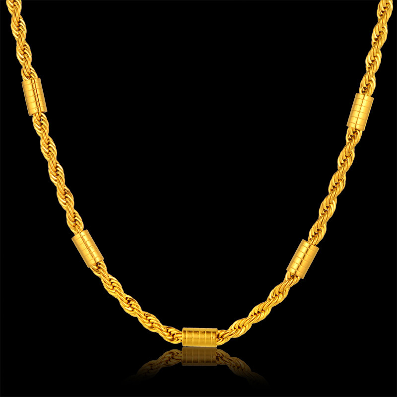 Fashion Thick Gold Rope Chain Necklace Men, Bohemia 18k Real Gold Plated Body Chain Jewelry, Wholesale Brand Women Accessories(China (Mainland))