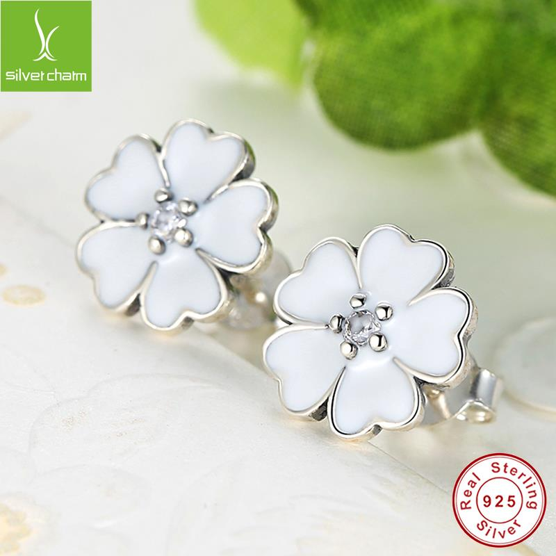 100% 925 Sterling Silver Primrose Stud Earrings For Women Primrose Enamel Compatible with Jewelry Authentic Gift<br><br>Aliexpress