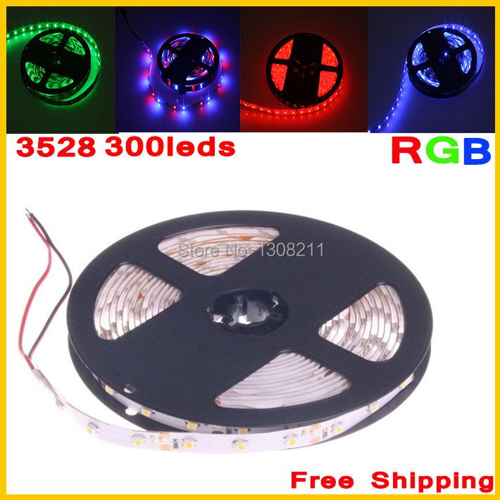 Hot sell! RGB NonWaterproof 5M 3528 Led Strip Flexible Light 60led/m 300 LED SMD DC12V LED Strips RGB/Single Color(China (Mainland))
