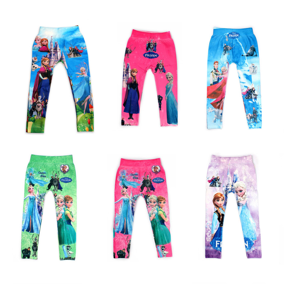21 Styles Digital Printing Kids Pants Fashion Baby Cartoon Anna Elsa Pattern Leggings For Boy Girl