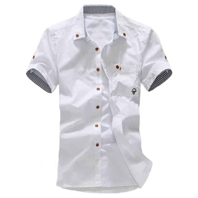 2015 men short sleeve shirt summer short sleeve slim shirt cusual Summer Style camisa social Cotton