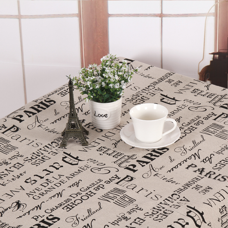 Europe Vintage English letter cotton linen tablecloth dining tablecover PARIS linen tablecloth outdoor tablecover free shipping(China (Mainland))
