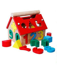 Educational Math Spielzeug Holz Montessori pädagogisches Spielzeug Montessori Materialien digitalen Puzzle Haus Baby Spielzeug(China (Mainland))