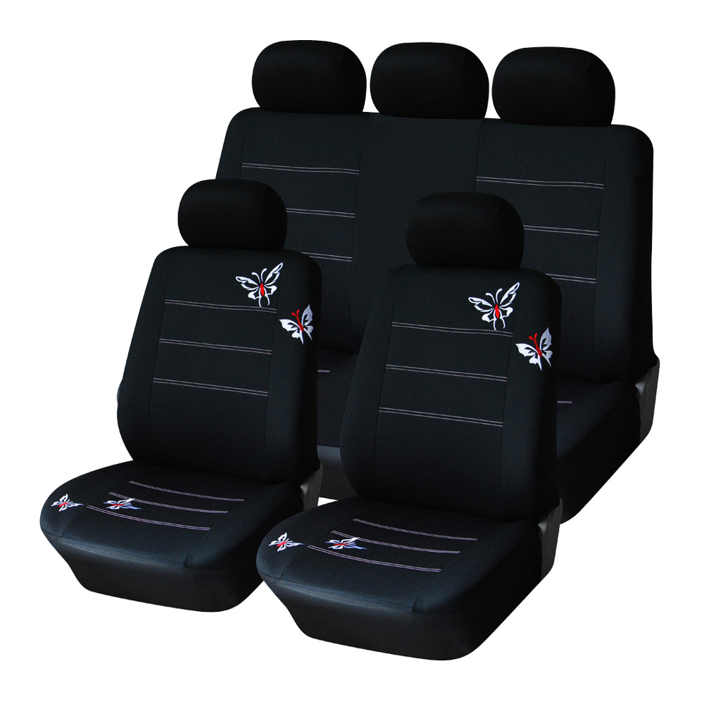 AUTOYOUTH Polyester Fabric Butterfly Embroidery Car Seat Cover Set Universal Fit Most Car Seats Accessories Black Colour(China (Mainland))