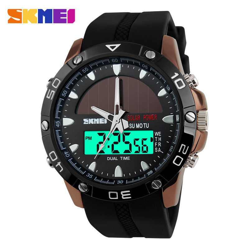 2016 New Solar Energy Watch Men's Digital Sports LED Watches Men Solar Power Dual Time Sports Digital Watch Men Military Watches(China (Mainland))