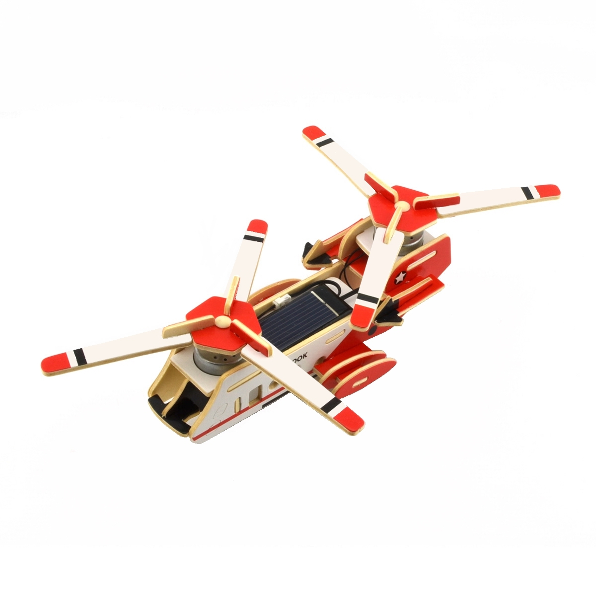 DIY Educational Assembly Puzzle Solar Powered 3D Wooden Sea Knight Twin-engine Aerotransport Helicopter Aircraft Woodcraft Toy(China (Mainland))