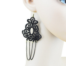 2015 New European And American Fashion Personality Gothic Black Lace Tassel Earrings Female Jewelry Wholesale Free Shipping(China (Mainland))
